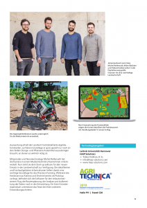 Article page with team, camera and analysis software for agriculture